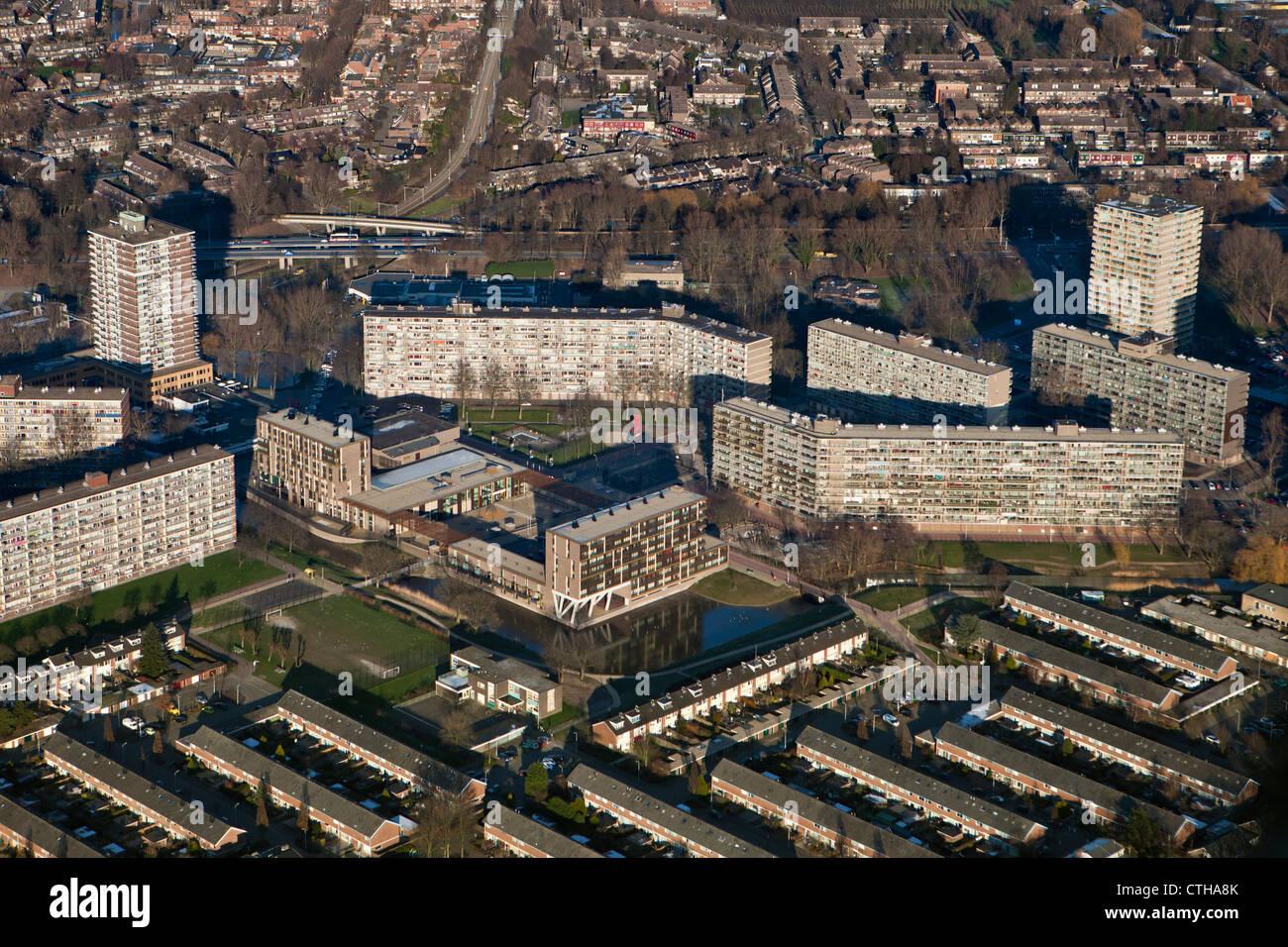 I Paesi Bassi, Zoetermeer, città. Antenna. Edifici di appartamenti. Immagini Stock