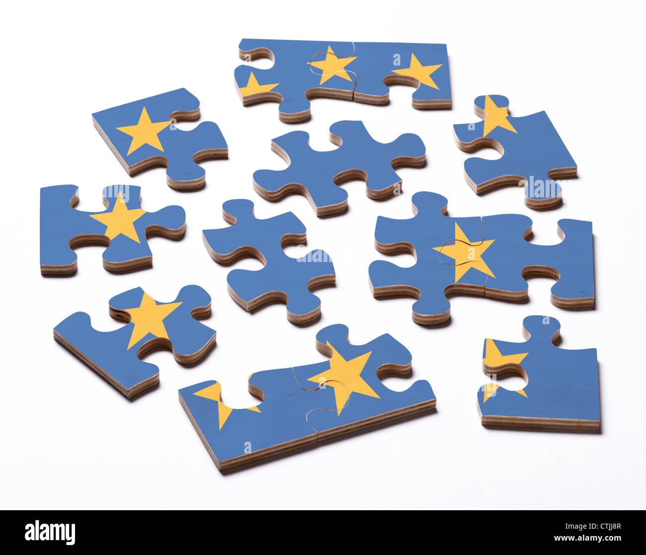 Ue Europa bandiera su pezzi di puzzle Immagini Stock
