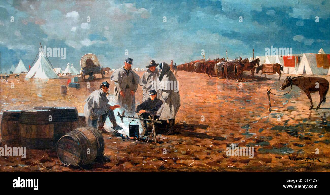 Giorno di pioggia a Camp 1871 Winslow Homer American Stati Uniti d'America Immagini Stock