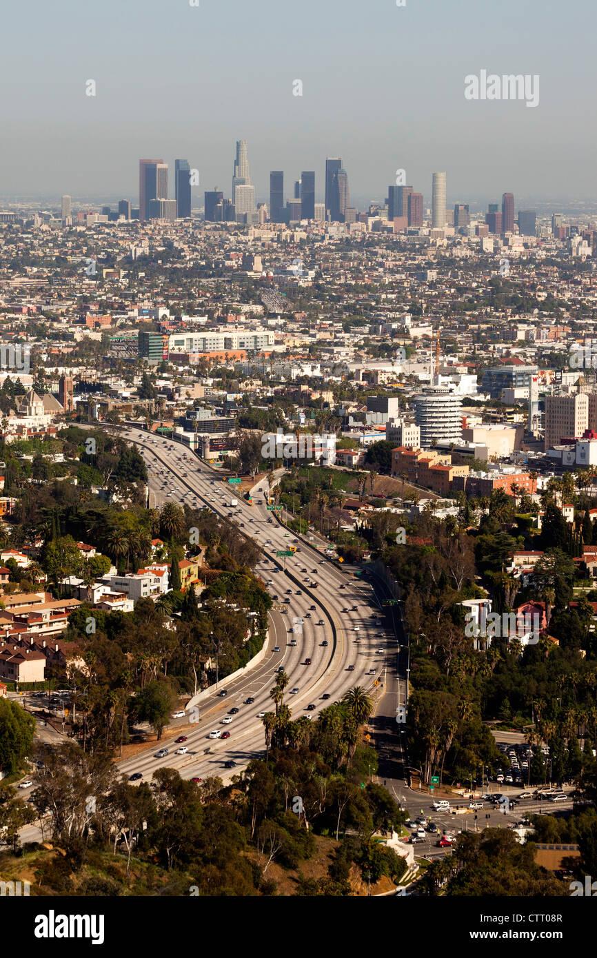 Superstrada di Hollywood e Los Angeles Immagini Stock