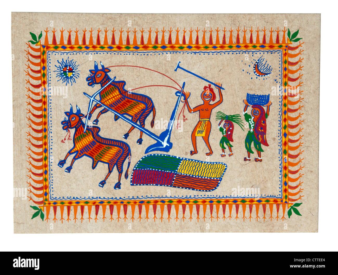 Arte Tribale India, Gond dipinto con le storie di agricoltura nei giorni antichi, carrello di giovenco campo di Immagini Stock