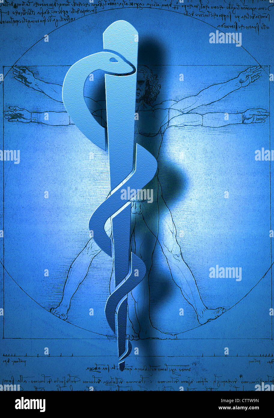 Aeskulap Stab vor Leonardo Da Vincis Menschenbild / Anatomiestudie Immagini Stock