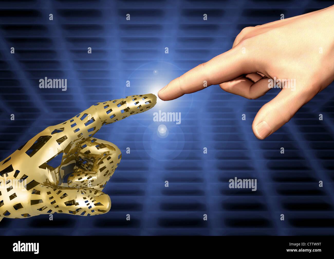 Eine digitale und eine analoge mano berühren sich fast an den Fingerspitzen der Zeigefinger ausgestreckten Immagini Stock