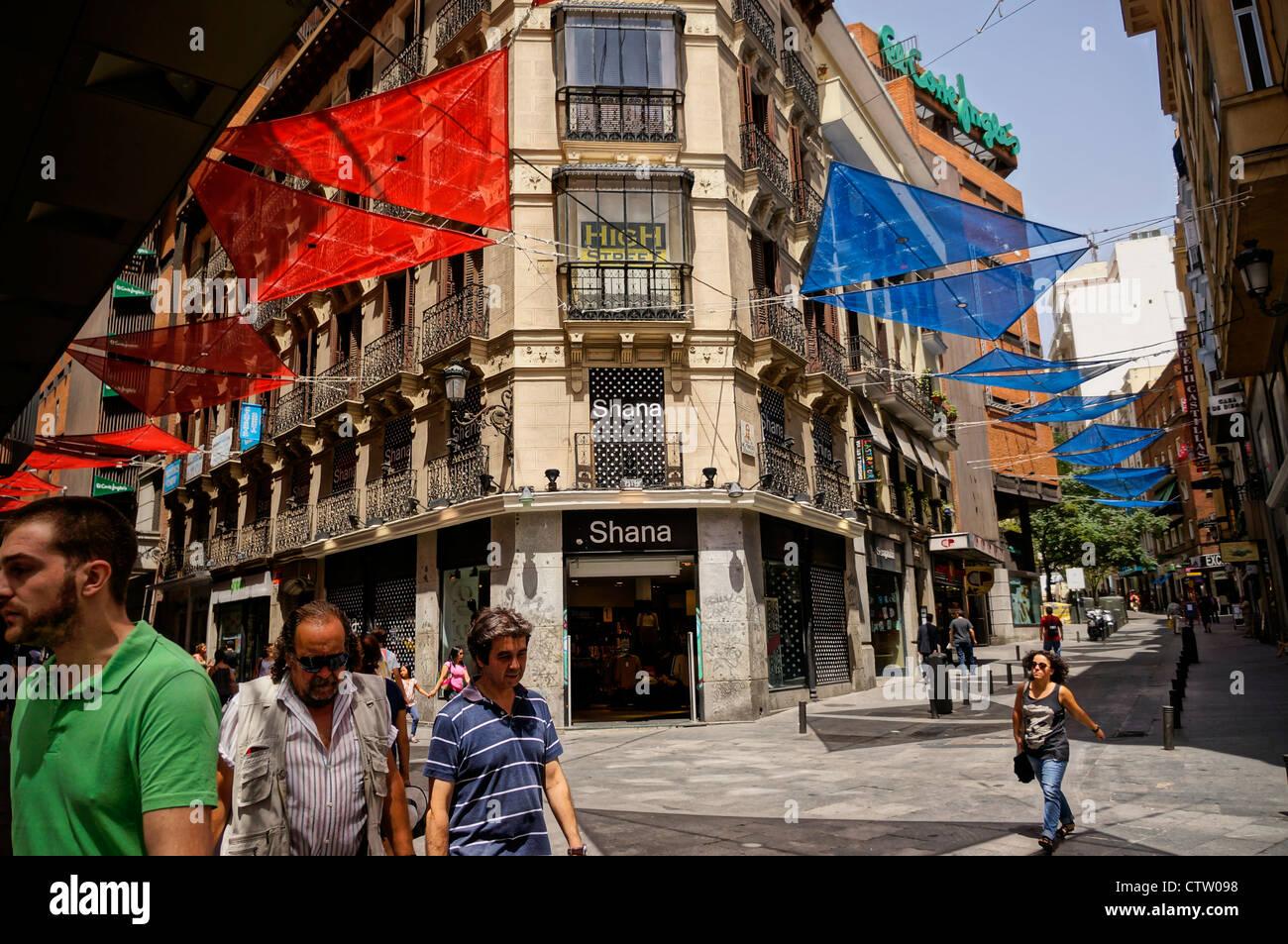 Il centro è il quartiere centrale della città di Madrid, Spagna Immagini Stock