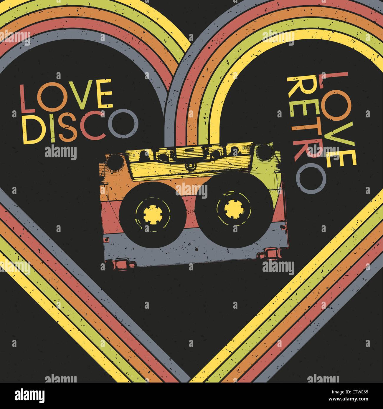 Amore discoteca, amore retrò. Poster vintage modello di progetto Immagini Stock