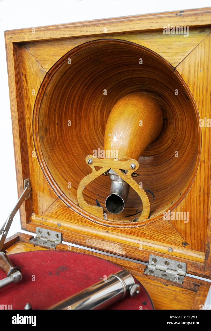 Pathe Saphone grammofono Elf fonografo Vintage Antique 1910 è un grammofono francese utilizzando una stilo Immagini Stock