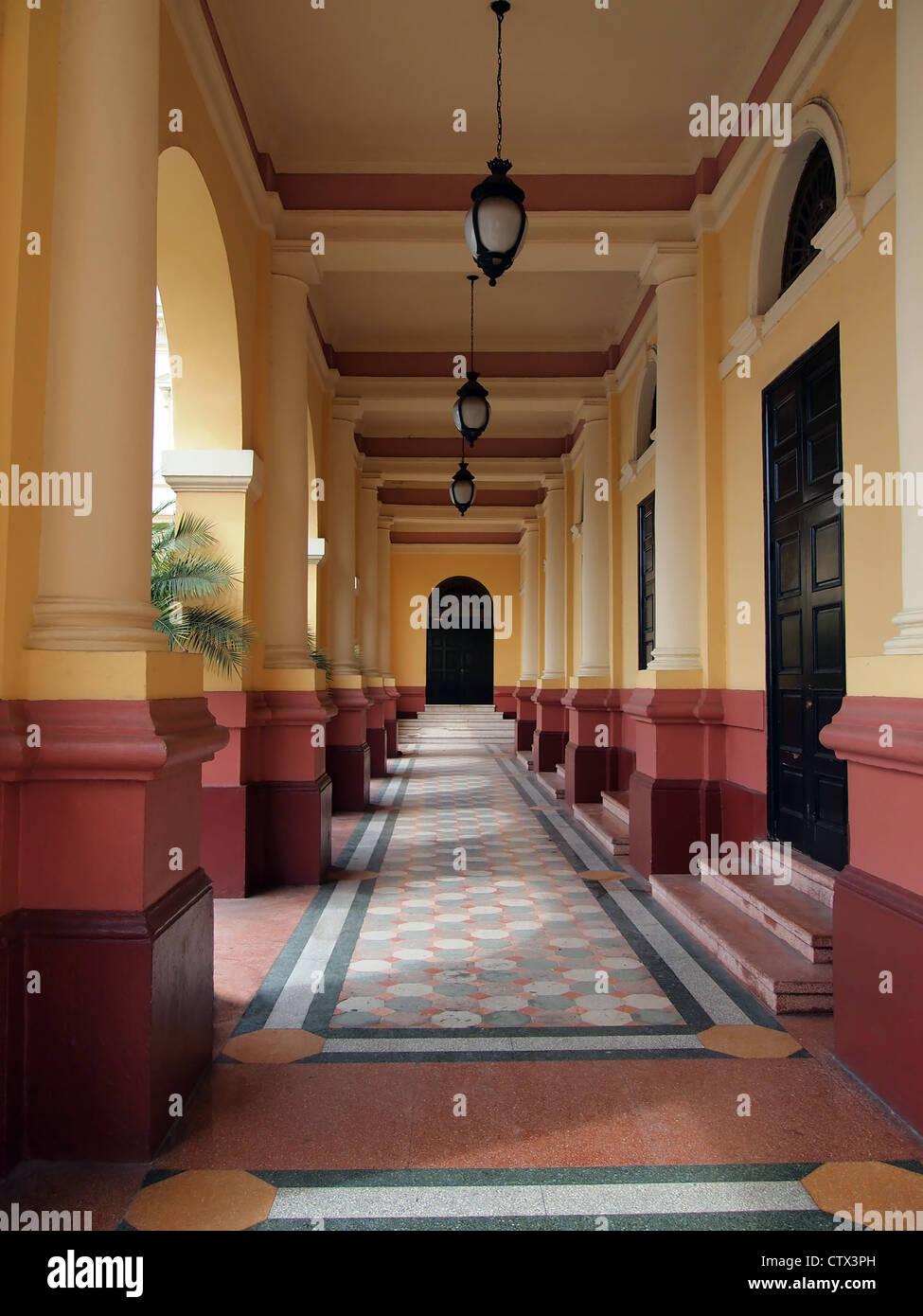 Ingresso del teatro nazionale nel Casco Viejo di Panama City, Panama America Centrale Immagini Stock