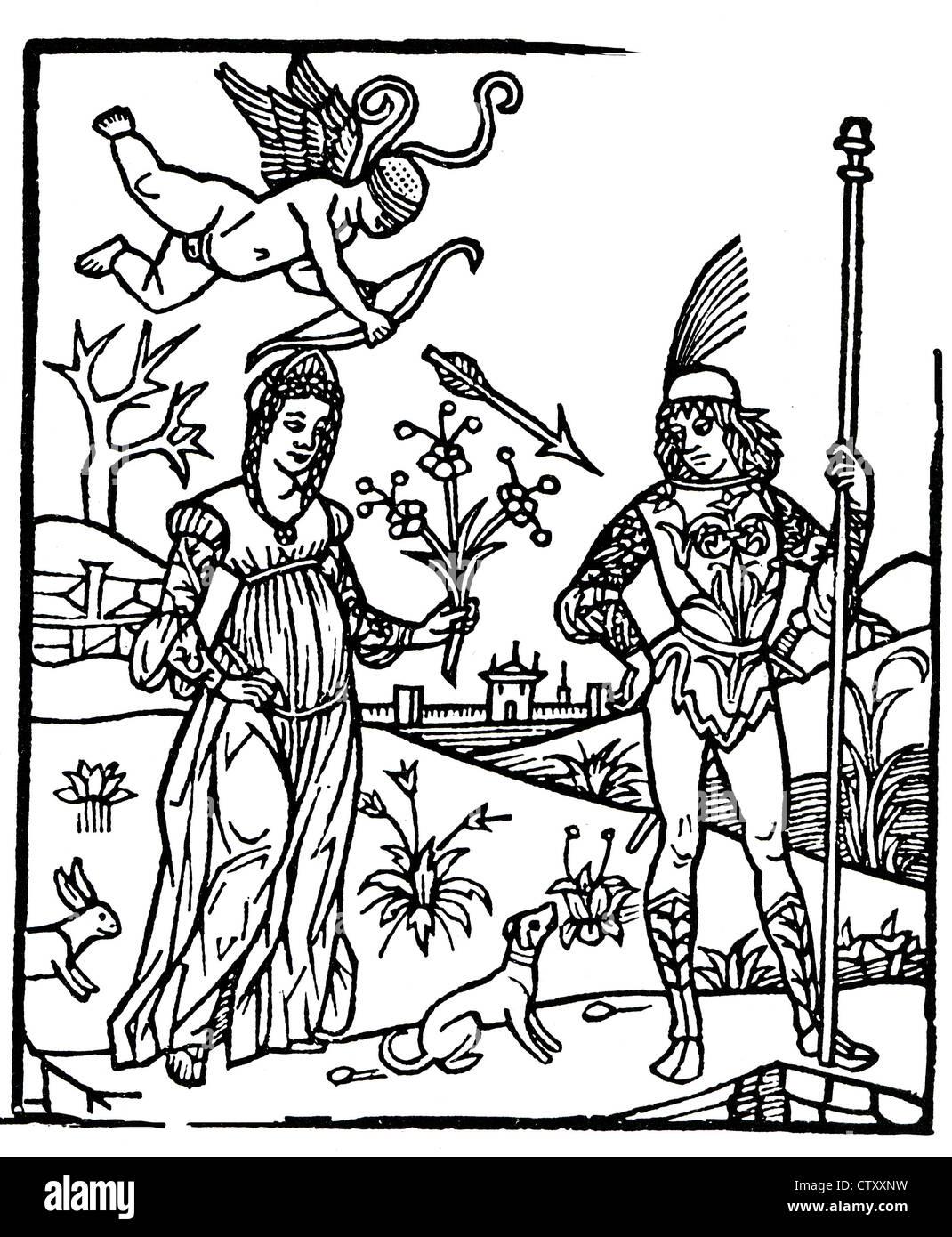 Due amanti in un italiano xilografia circa 1500 Immagini Stock
