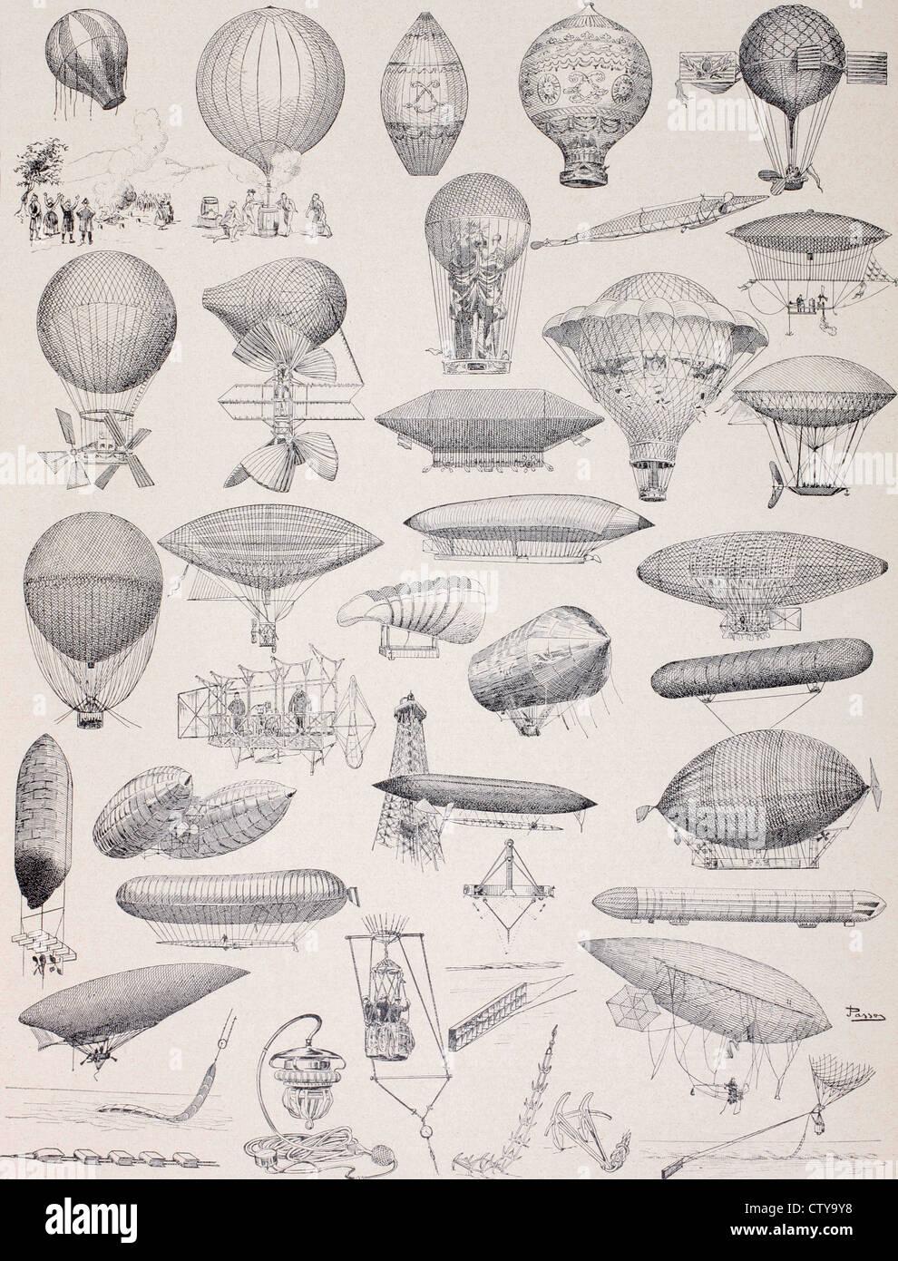 I palloni ad aria calda nel corso di tutta la storia.... Immagini Stock