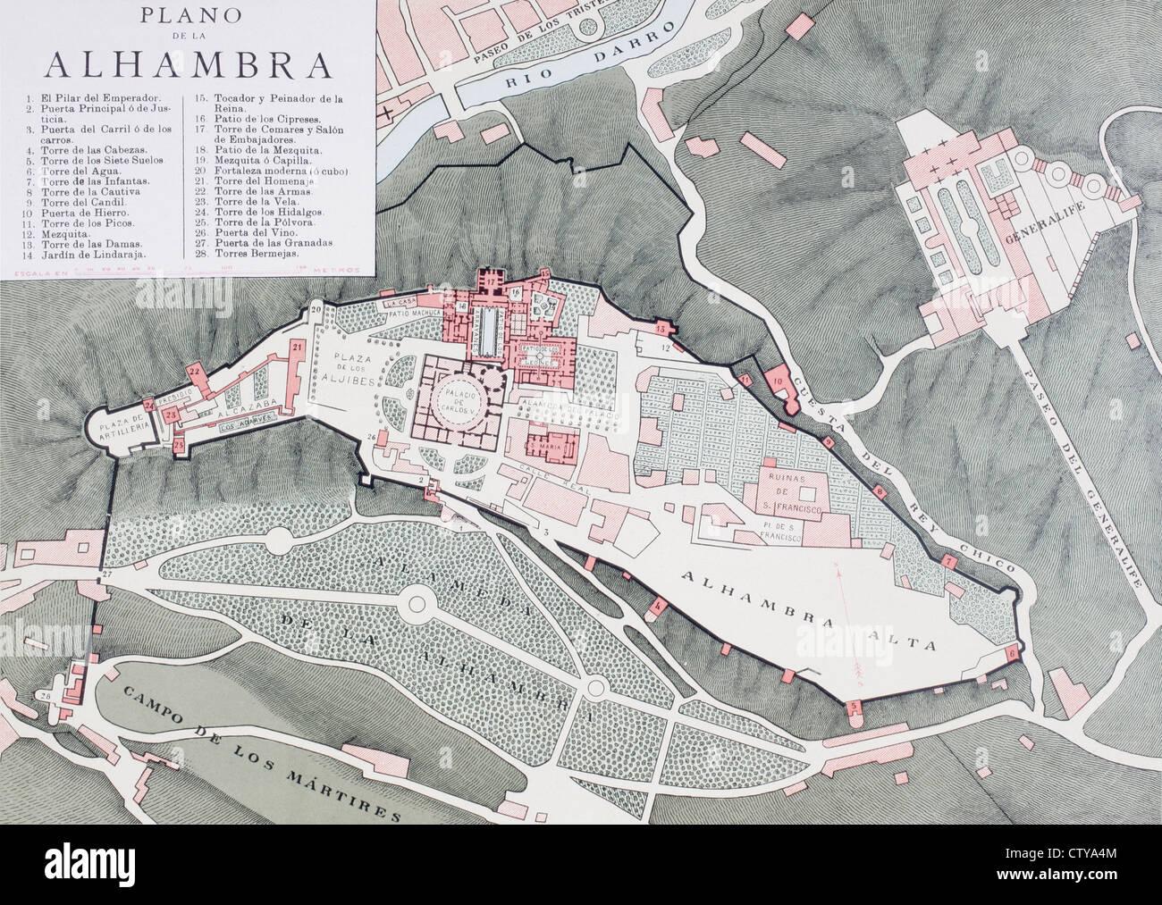 Granada, Spagna. Pianta della Alhambra e quartieri circostanti intorno alla fine del XX secolo Immagini Stock