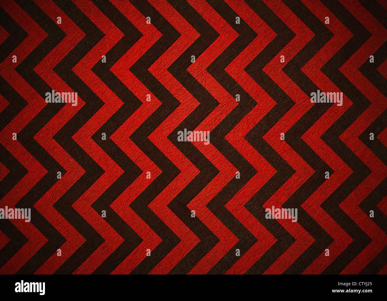 Nero e rosso sfondo rétro di chevron motivo a strisce Immagini Stock