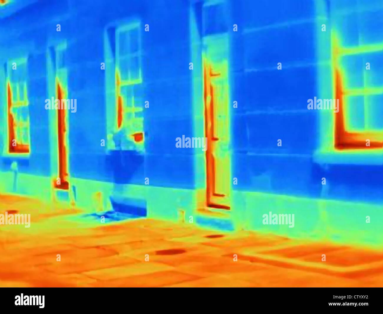 Immagine termica di porte e finestre Immagini Stock