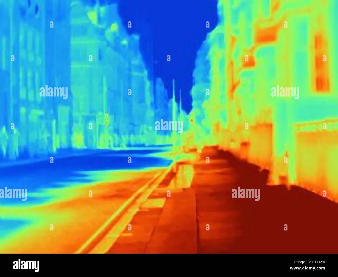 Immagine termica di una strada di città Immagini Stock