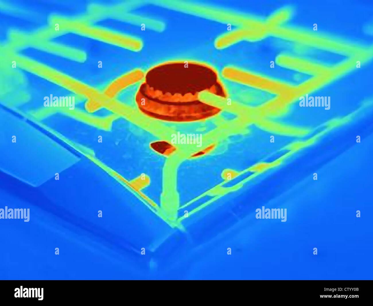 Immagine termica del bruciatore di stufa Immagini Stock