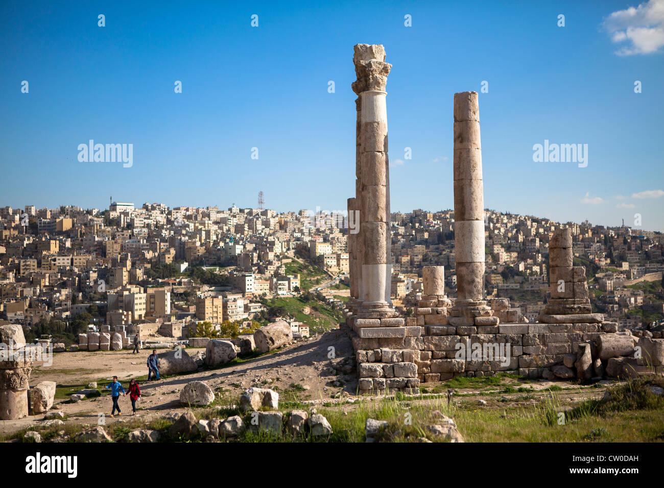 Cittadella di Amman in Giordania Immagini Stock