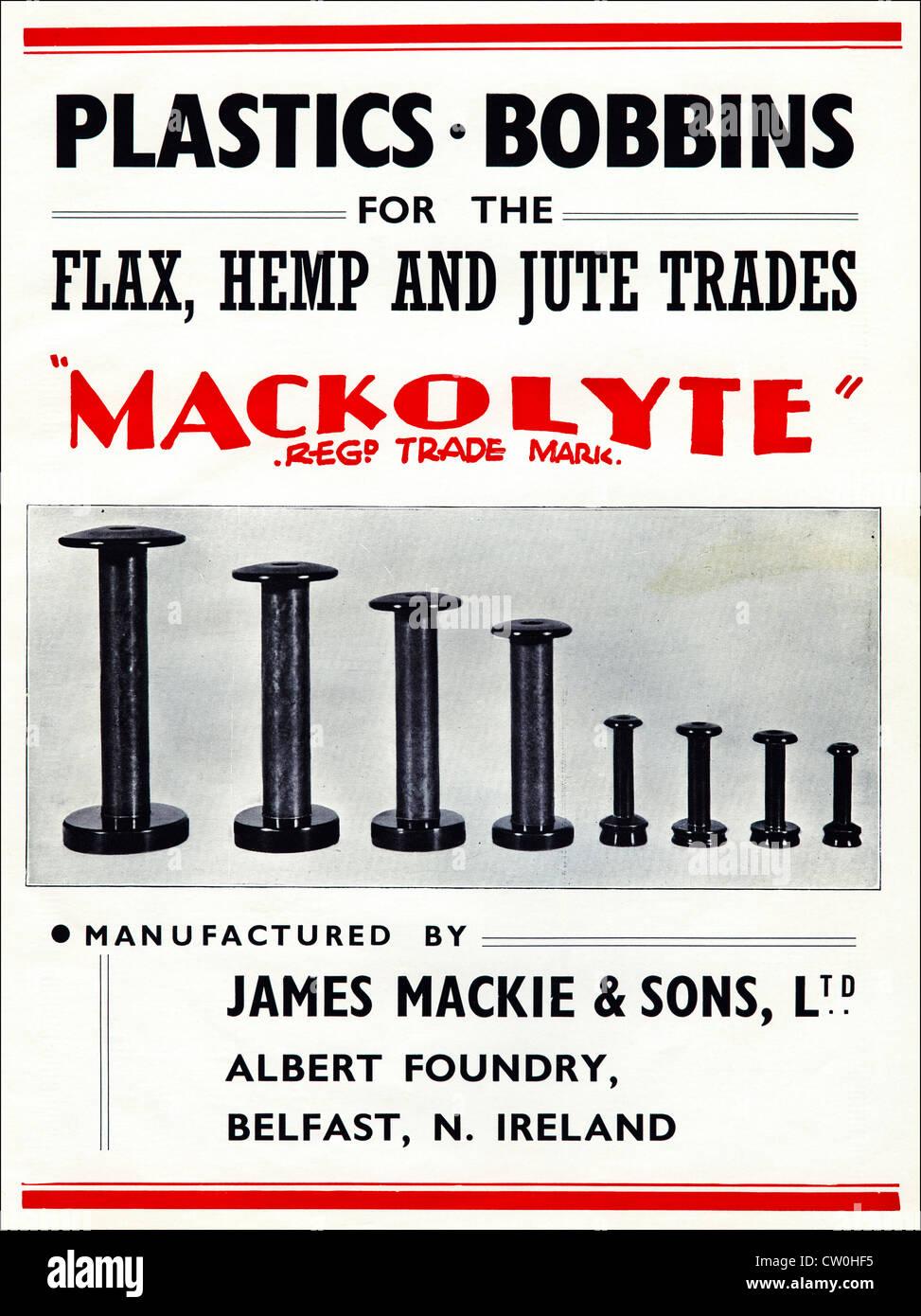 Stampa Vintage annuncio da parte di produttori tessili Yearbook 1948 circa pubblicità JAMES MACKE & SONS Immagini Stock