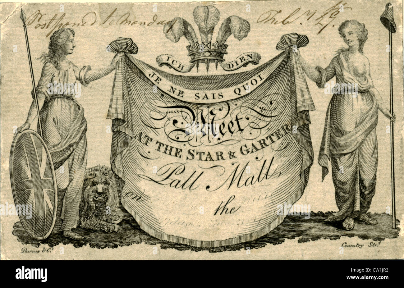 Il XVIII secolo incisa invito con il CREST e il motto del Principe di Galles Immagini Stock