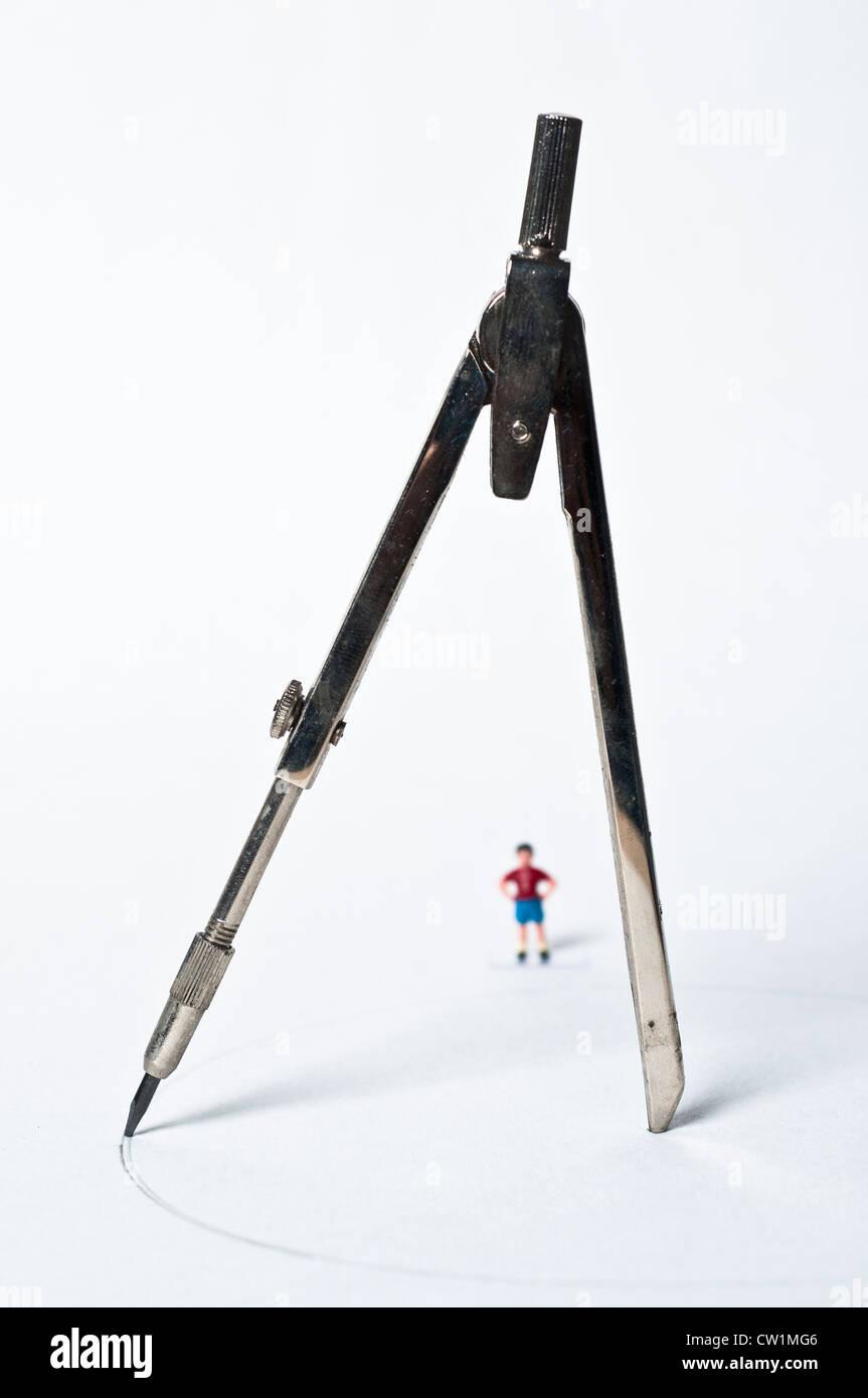Vettore e piccolo ragazzo giocattolo Immagini Stock