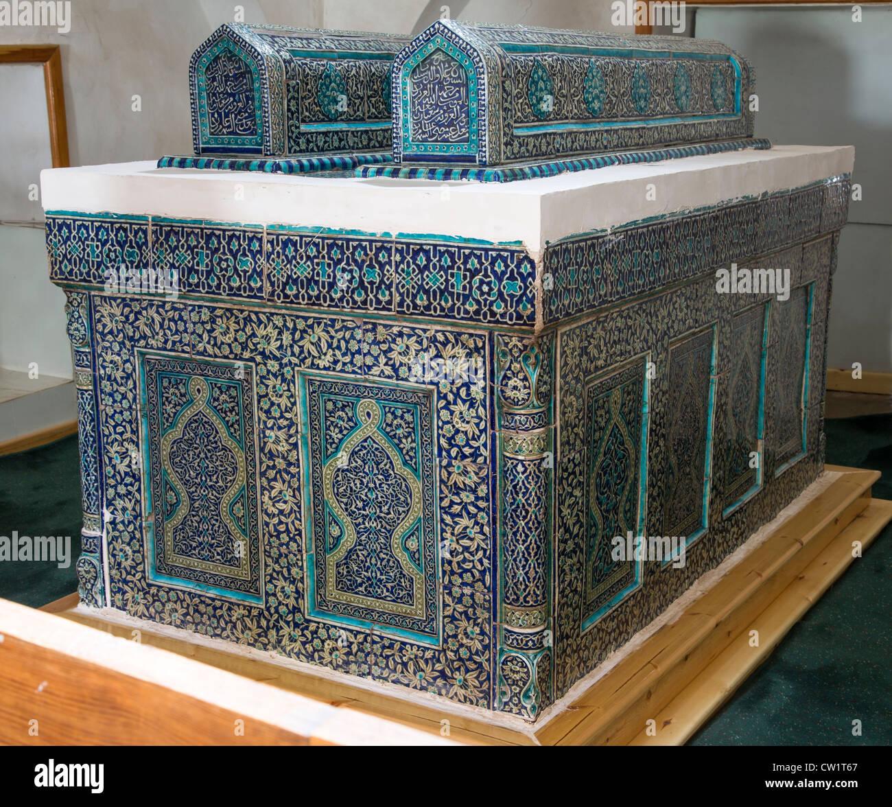 Piastrellate il cenotafio di Sayyid ala al-Din, Khiva, Uzbekistan Immagini Stock