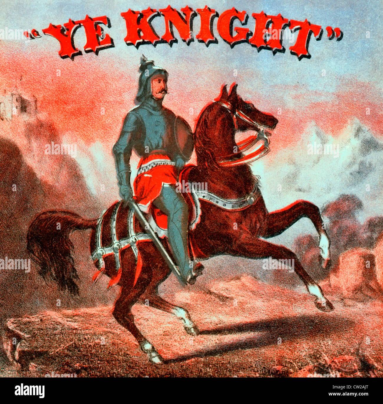 Voi Knight - etichetta di tabacco che mostra è montato un cavaliere in armatura; sullo sfondo delle montagne Immagini Stock