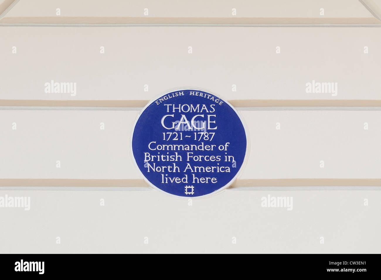 Targa blu segna la casa di Thomas Gage, Londra, Inghilterra Immagini Stock