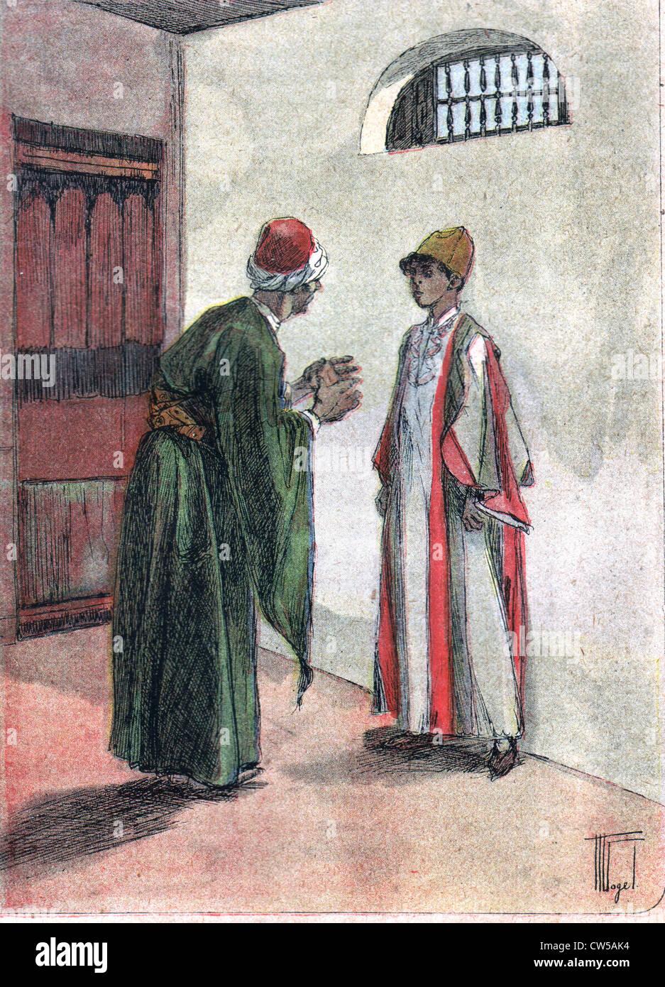 """Illustrazione del racconto """"Hadji's Revenge' da A. Hesse in 'Msu ufficiale di 23-9-1911 Immagini Stock"""