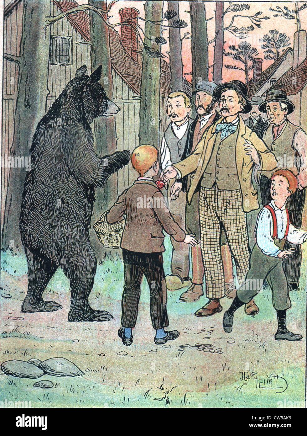 """Illustrazione del racconto """"Belzébuth il miele"""" di Auguste Bailly in 'Msul journal' di 16 Immagini Stock"""
