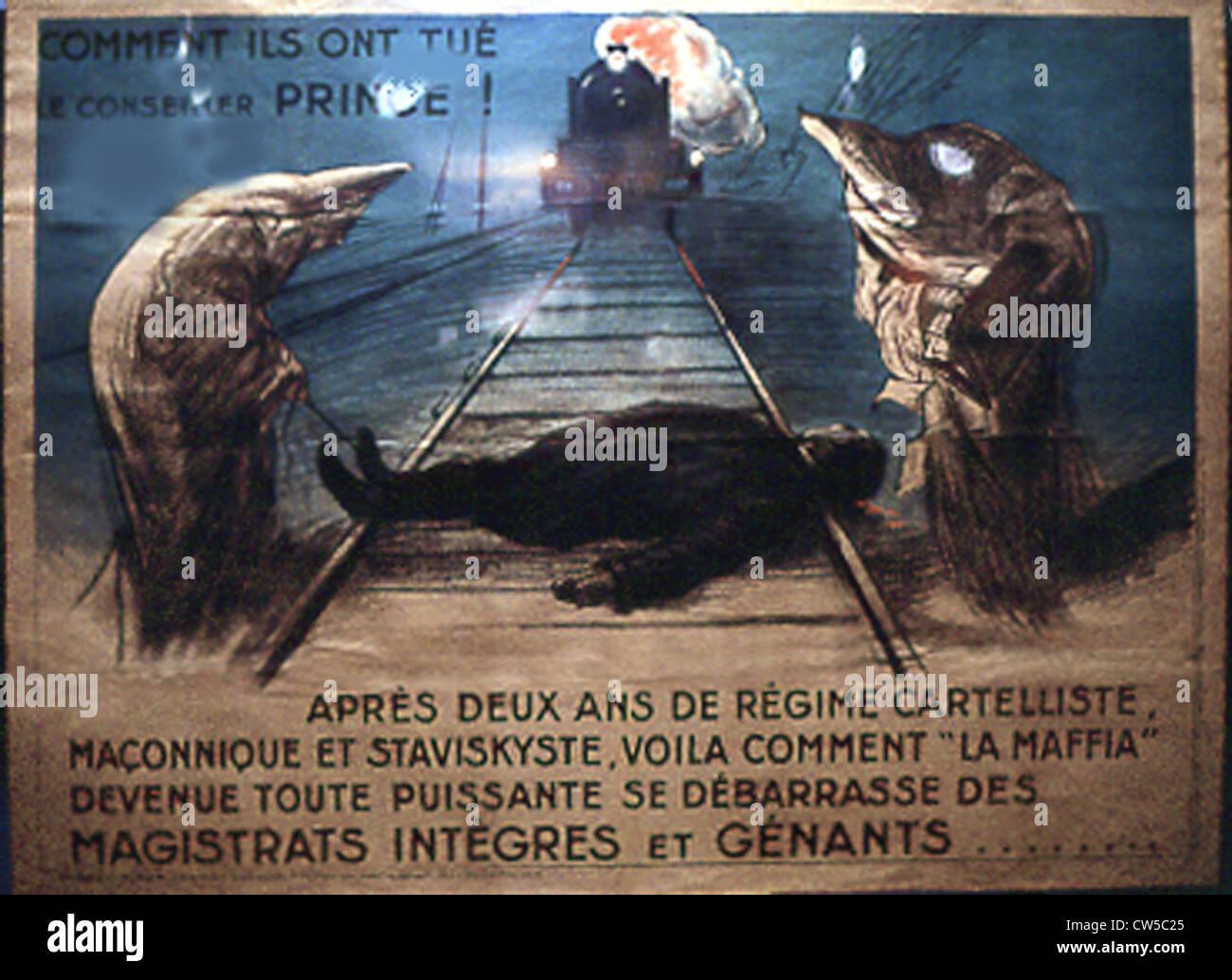 Manifesto politico contro il cartello del masonic e partiti di sinistra Immagini Stock