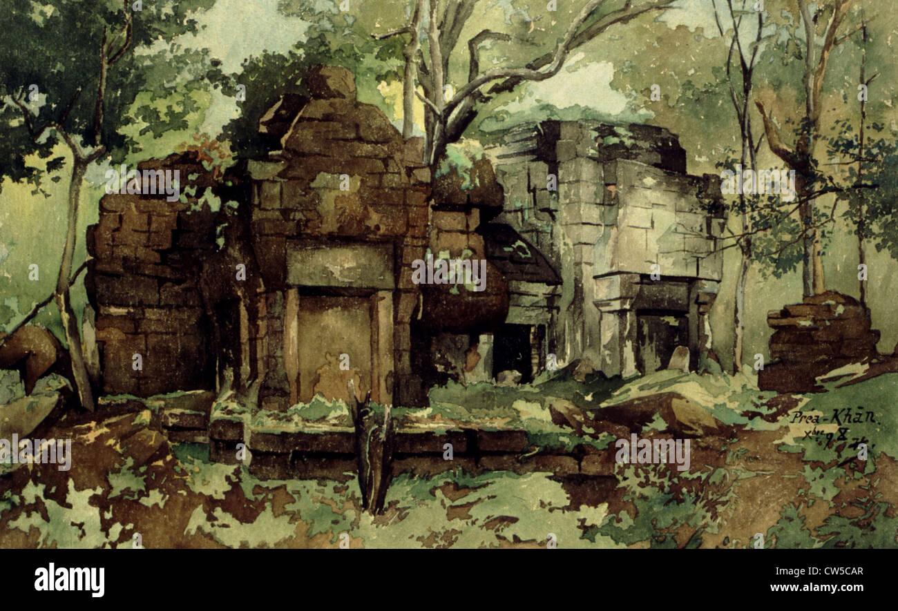 Courmaille, Angkor, acquerello Immagini Stock