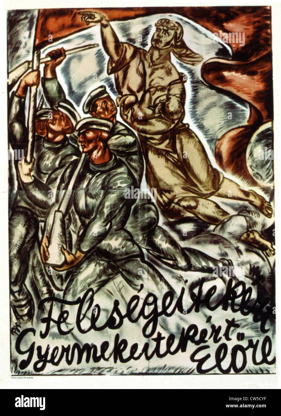 Poster di propaganda da Bertalan POR (1880-1964) 1919 rivoluzione ungherese Immagini Stock
