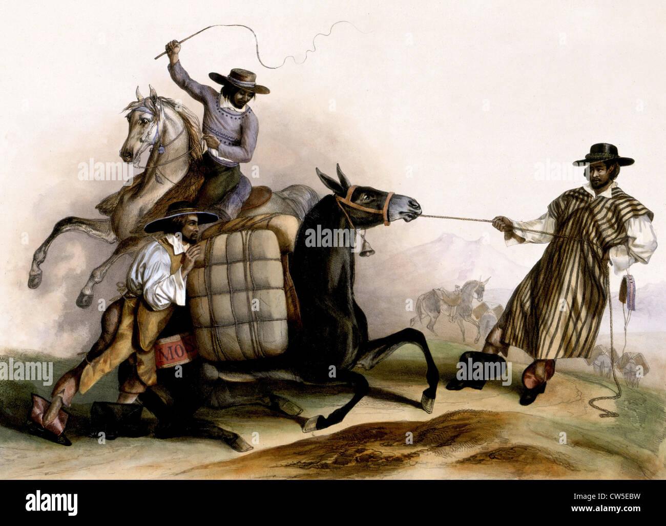 """La litografia dopo C. Nebel, """"arrieros"""" (1836) Immagini Stock"""