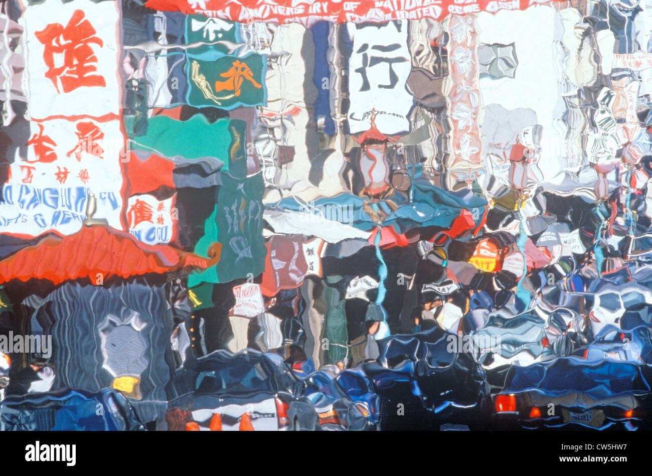 Foto effetto impressionismo - Domenica mattina nella Chinatown di San Francisco, California Immagini Stock