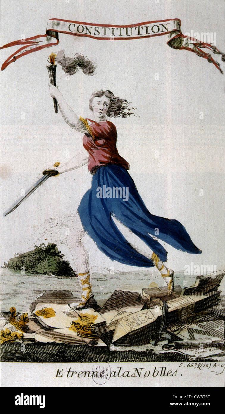 Presente per la nobiltà, costituzione francese del 1791 Immagini Stock
