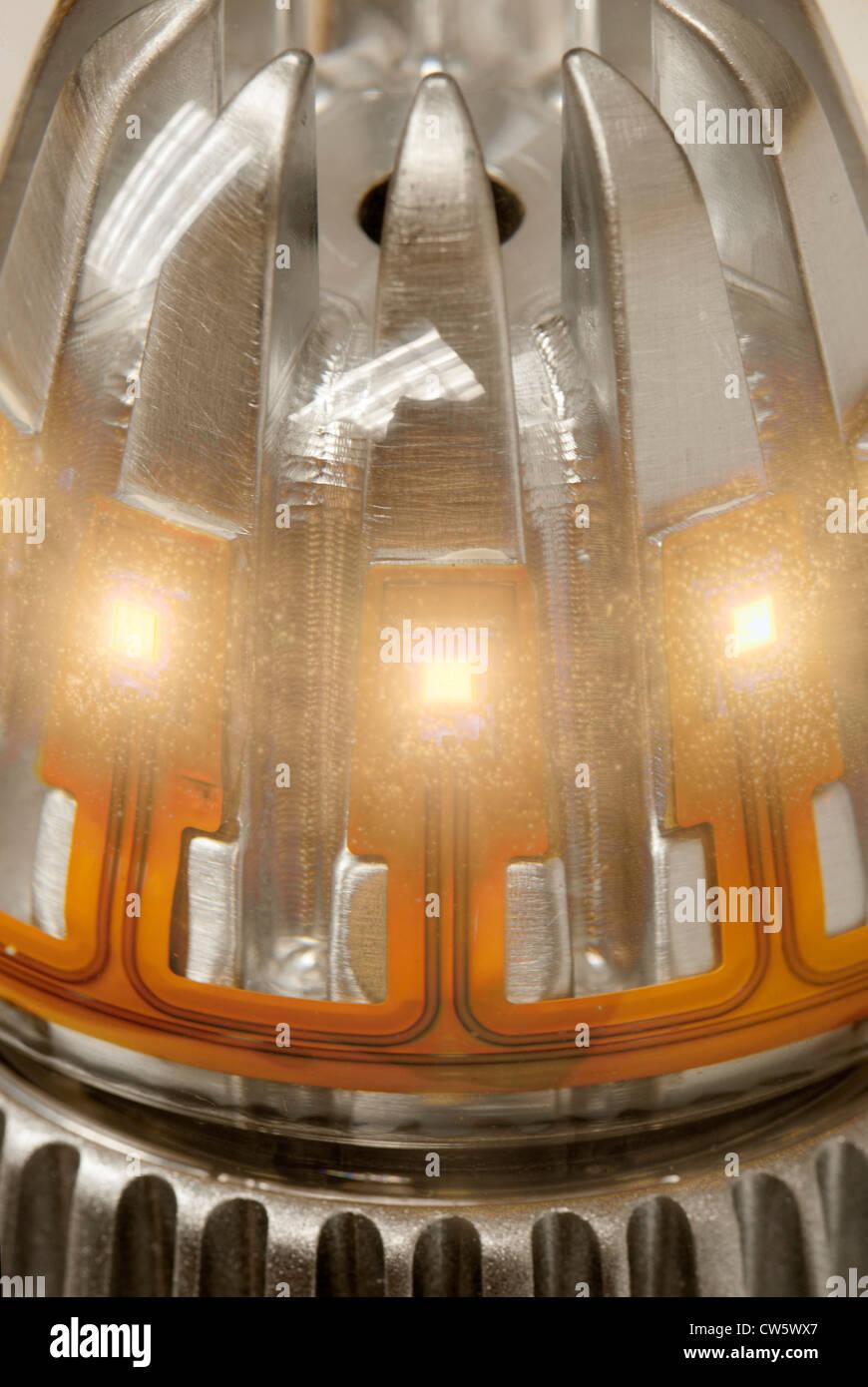 Interruttore luce a LED lampadina, interruttore lab, San Jose California. Immagini Stock