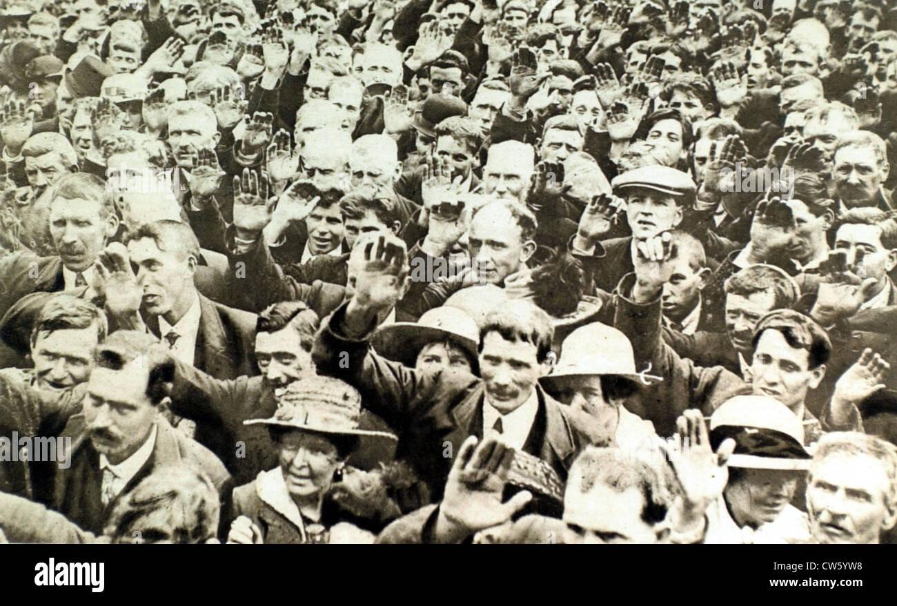 Guerra mondiale I. In Irlanda, grandi anti-coscrizione dimostrazione in Dungannon Immagini Stock