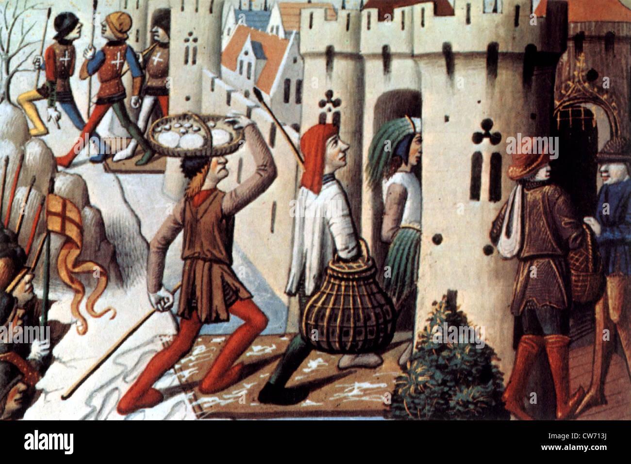 Supplyng città nel Medioevo Immagini Stock