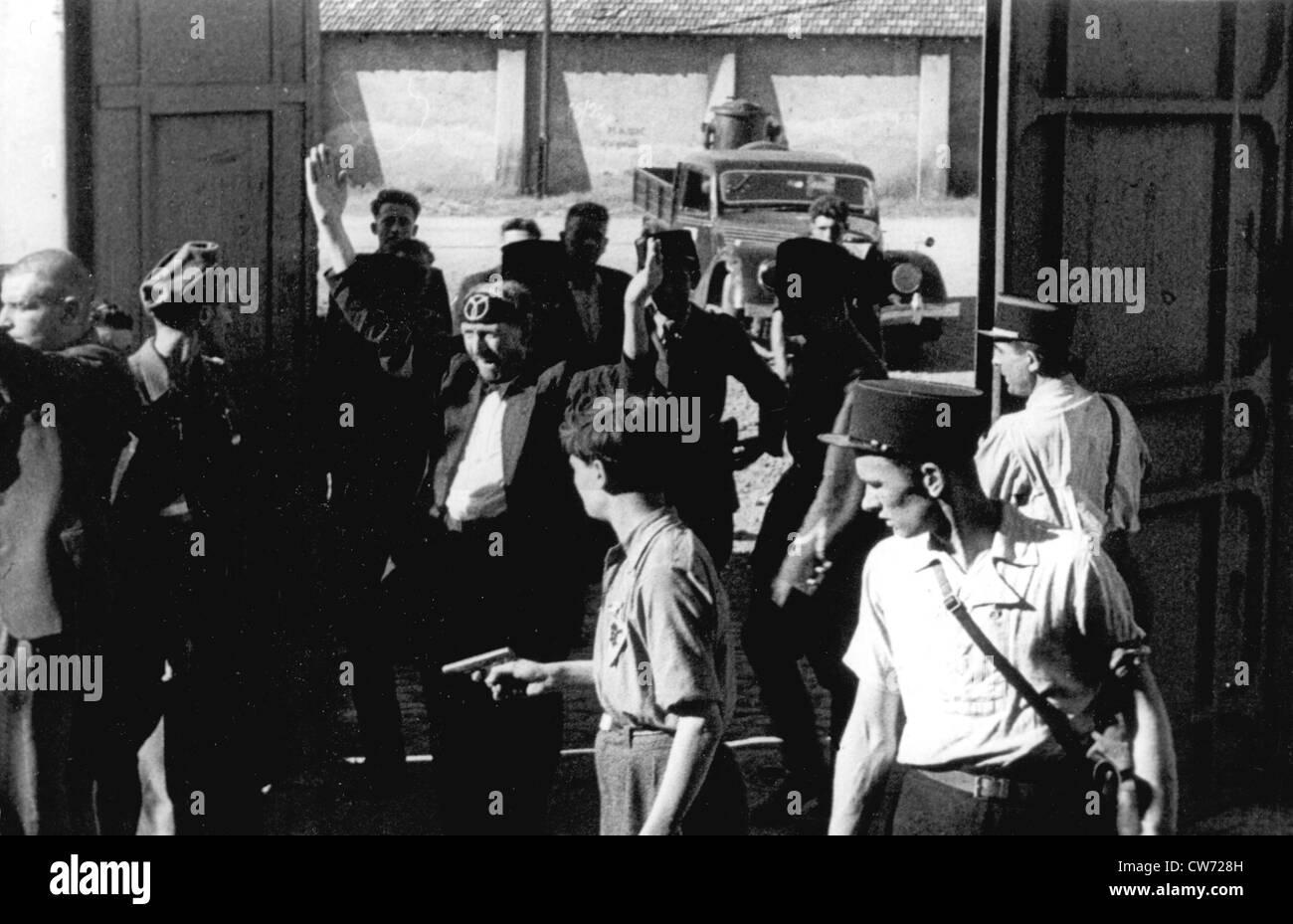 Liberazione della Francia, arresto di collaboratori Foto Stock
