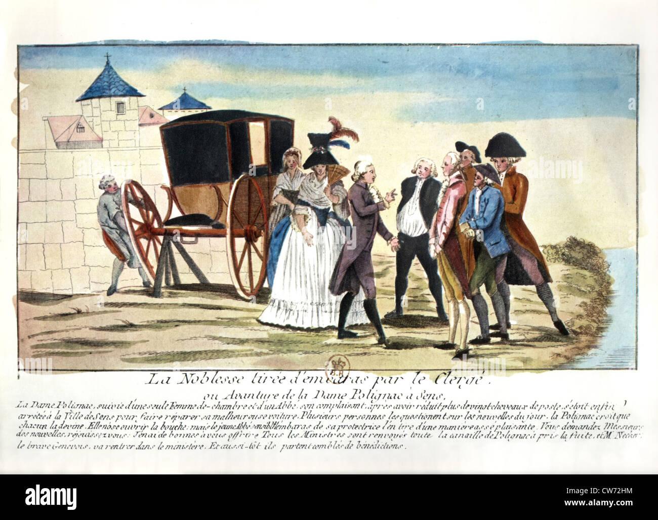 La nobiltà francese inizia a emigrare, sotto la Rivoluzione francese (settembre-ottobre 1789) Immagini Stock