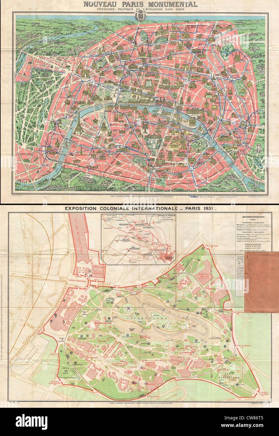 1931 Lecont Mappa di Parigi w-monumenti e mappa della Esposizione Coloniale Immagini Stock