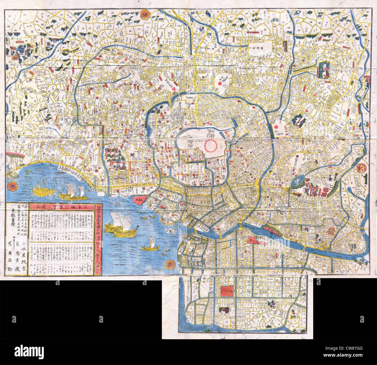1849 Periodo Edo giapponese xilografia Mappa di Edo o a Tokyo Giappone Immagini Stock
