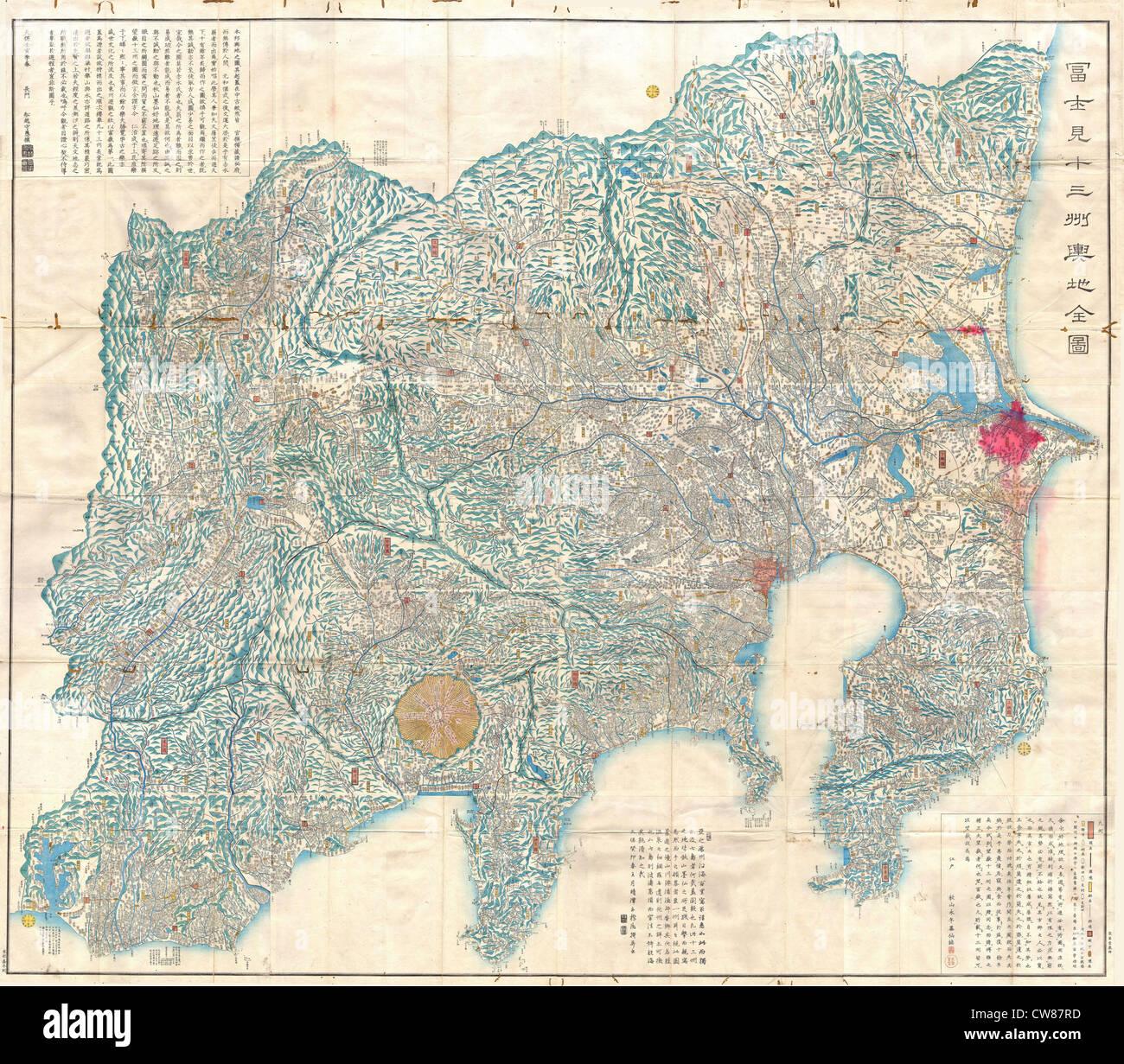 1843 Tienpo 14 Periodo Edo Mappa di Mt. Fuji, Tokyo, e prossimità Immagini Stock