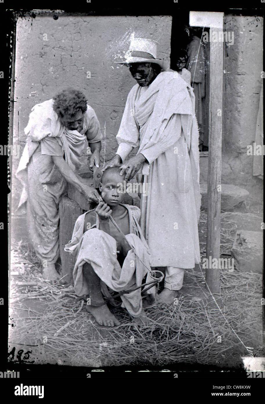 La punizione di un runaway slave, Madagascar Immagini Stock