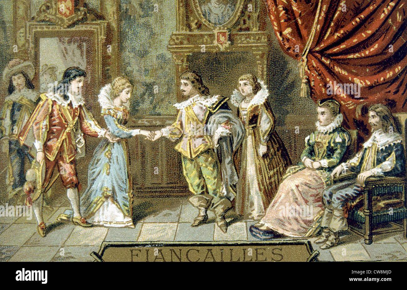 Xviii secolo wedding, pubblicità Immagini Stock
