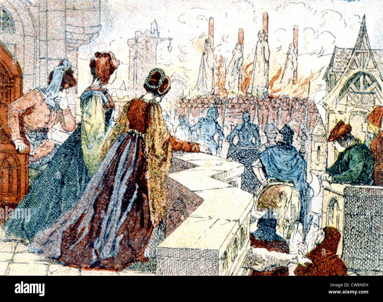 Esecuzione dei Templari, illustrazioni della fine del XIX secolo Immagini Stock