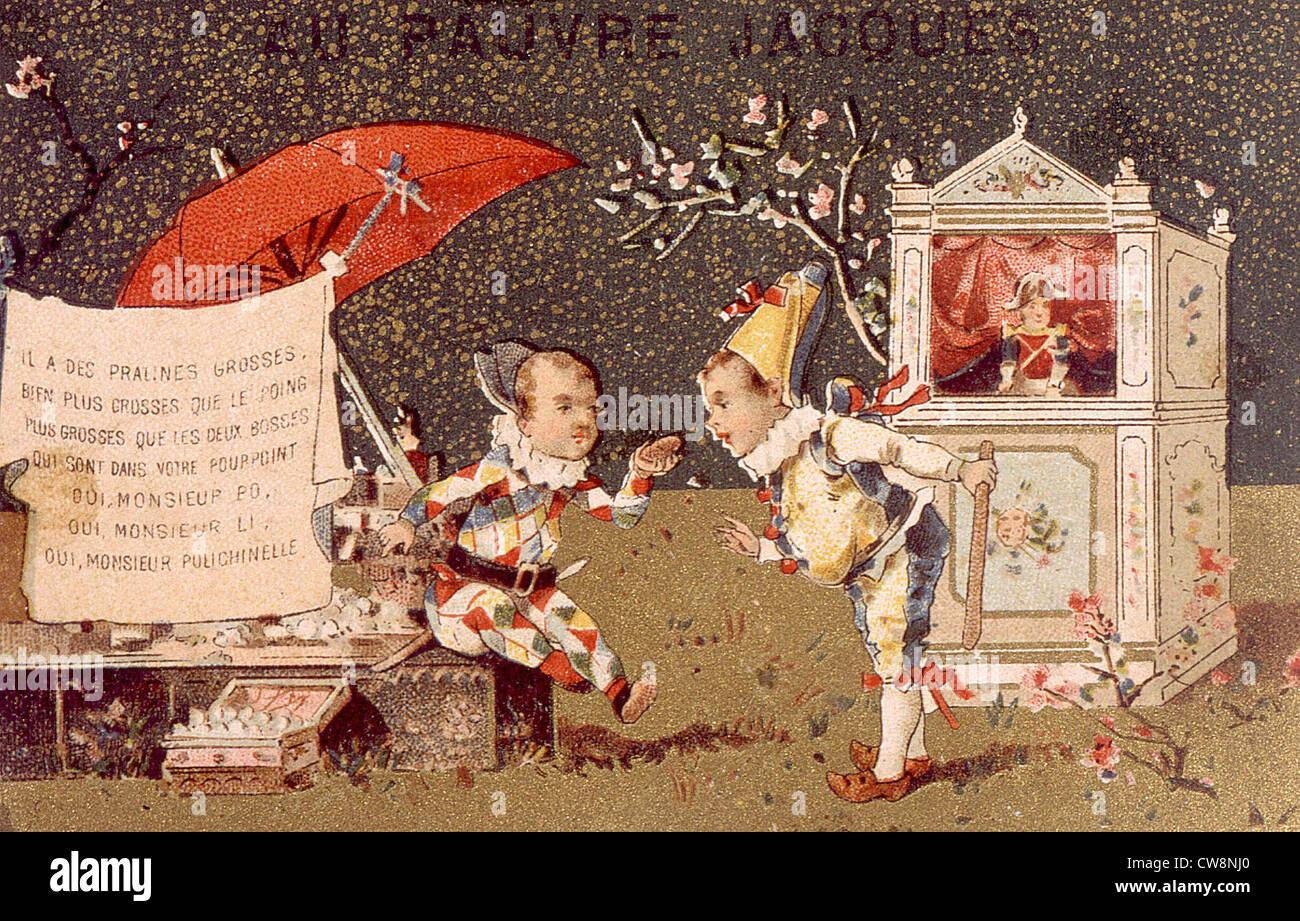 Guignol e Polichinelle, illustrazioni Immagini Stock