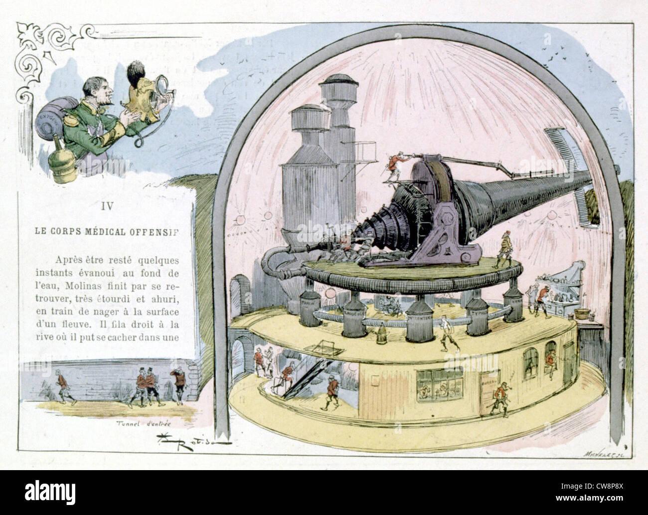 La guerra nel XX secolo, illustrazioni di Robida Immagini Stock