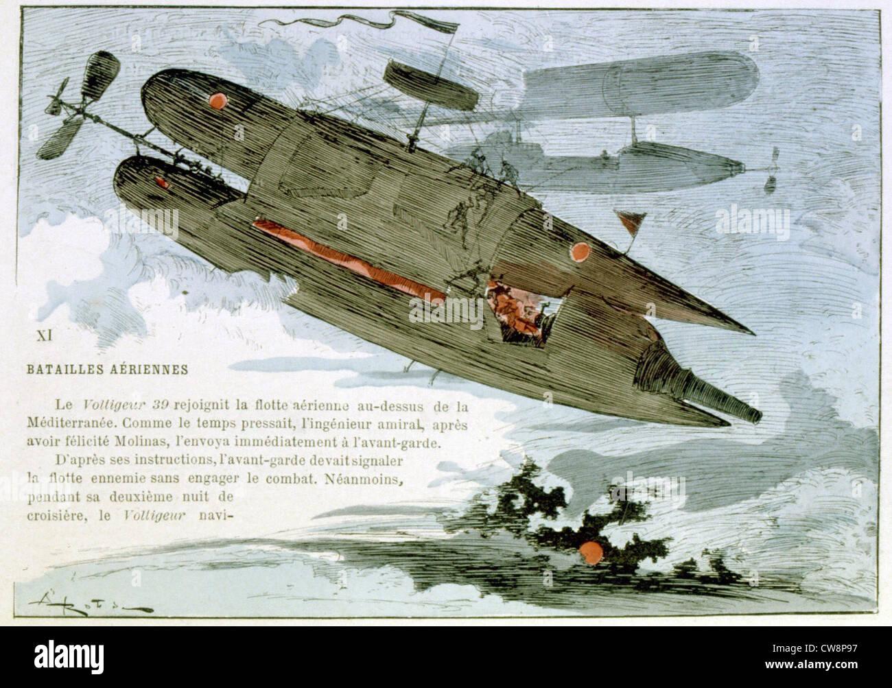 La guerra nel XX secolo, illustrazione di Robida Immagini Stock