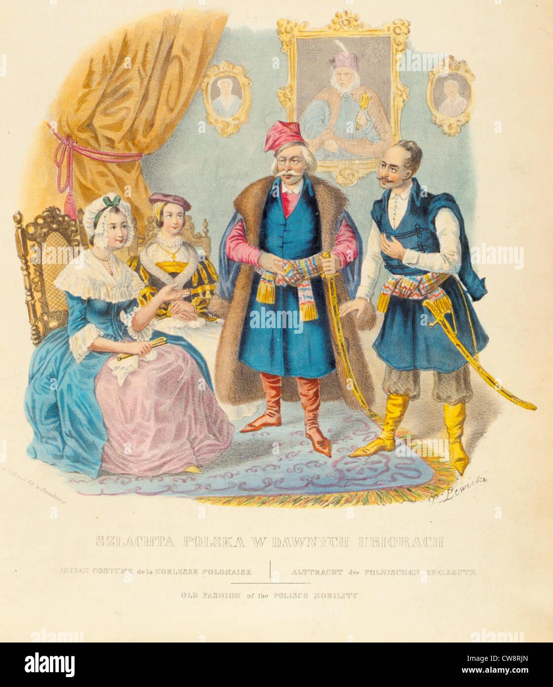 Antichi costumi della nobiltà polacca Immagini Stock