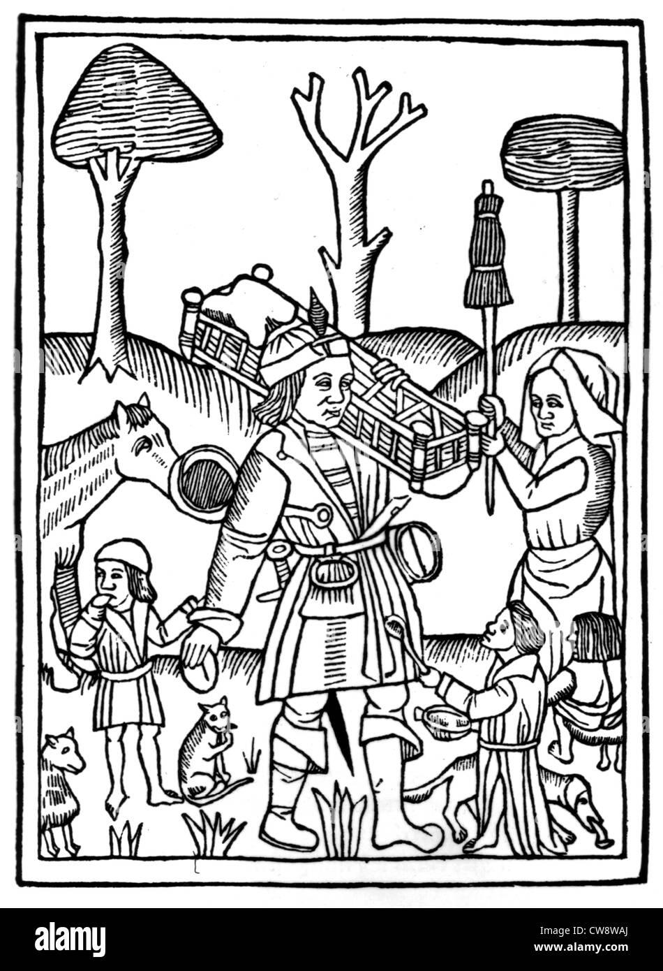 Xilografia illustrante ultimo libro : il marito lavorando duramente sotto la minaccia di sua moglie conocchia Immagini Stock
