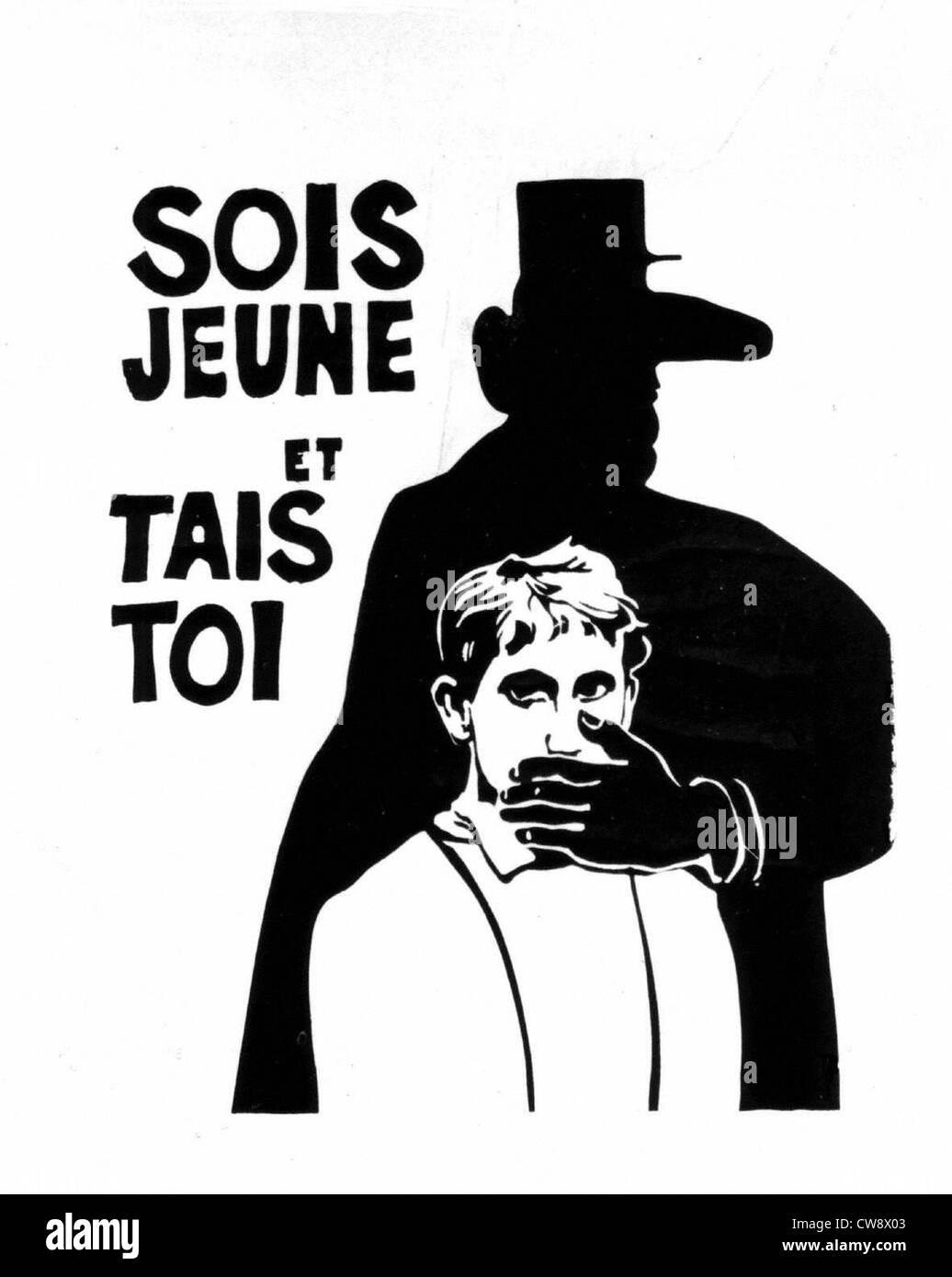 Poster concepito gli studenti durante gli eventi Maggio 1968 Immagini Stock
